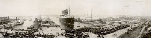 The Lusitania at end of record voyage 1907